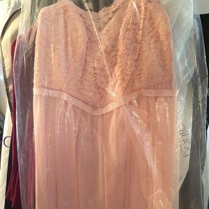 David's Bridal  Pink Chiffon Bridesmaids Dress